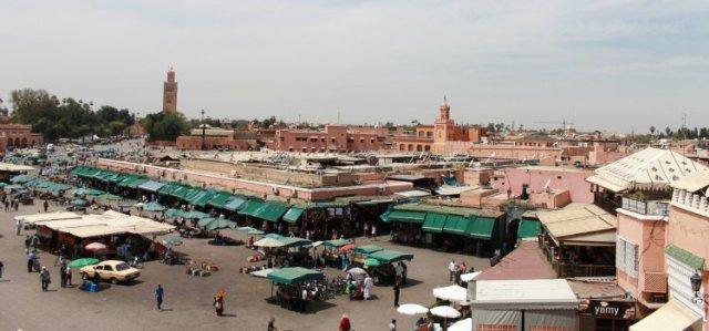 La Plaza Jemaa el Fna desde el restaurante Chez Chegrouni
