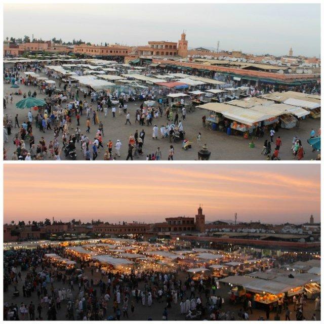 Ver atardecer en la Plaza Jemaa el Fna