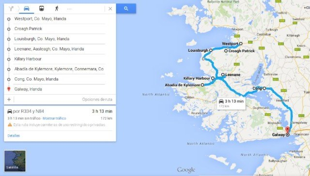 Mapa de la ruta por Irlanda en coche