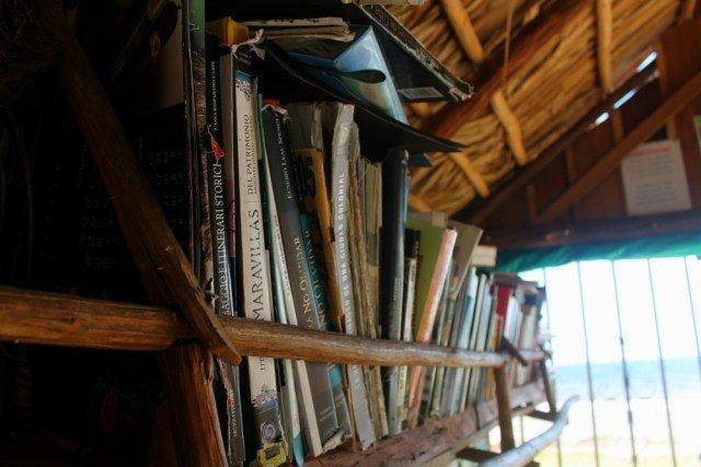 Estantería con libros y el Mar Caribe de fondo