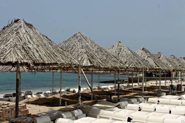 Sombrillas de paja en Fujairah