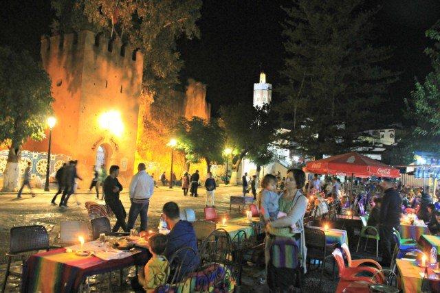 Plaza Uta de Chaouen de noche