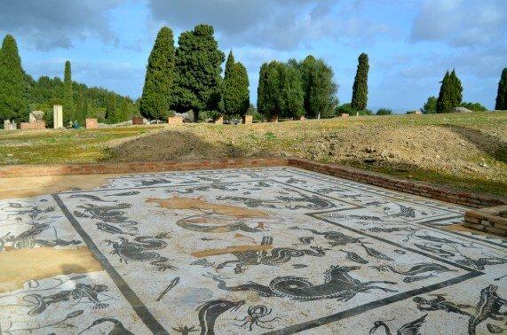 Mosaicos en Itálica - Casa de Neptuno