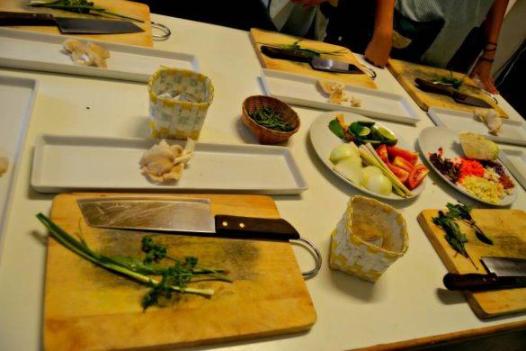 Utensilios del curso de cocina en Chiang Mai