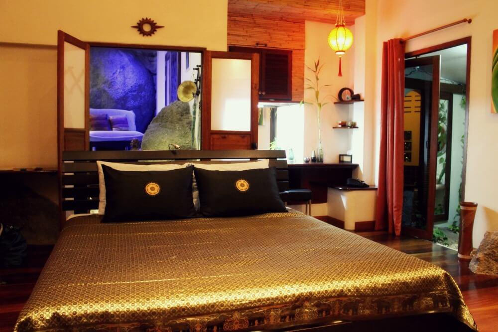 Dormitorio de la Rock Villa de La Cigale en Koh Tao