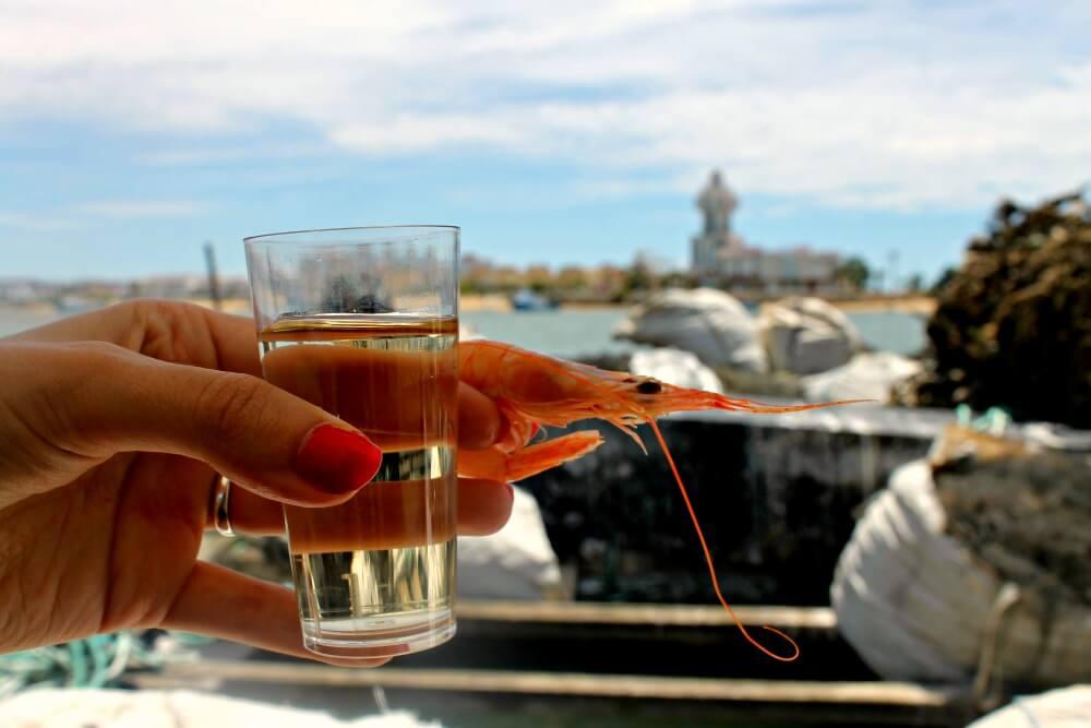 Gamba y vino del condado en Isla Cristina