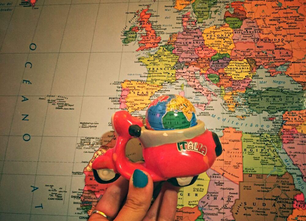 Mapa de Italia y nuestra Vespa