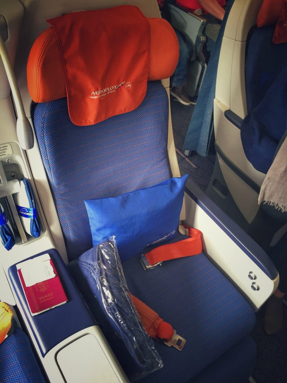 Asiento en clase business de Aeroflot