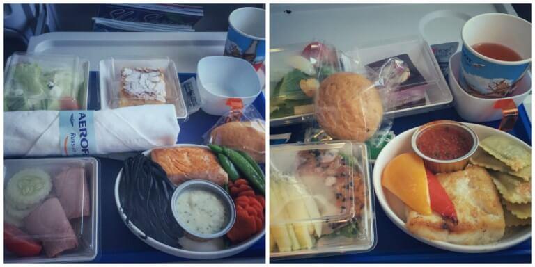 Comida en la clase business de Aeroflot