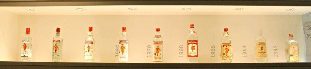 Evolución de las botellas de Beefeater Gin - Fábrica de Beefeater London