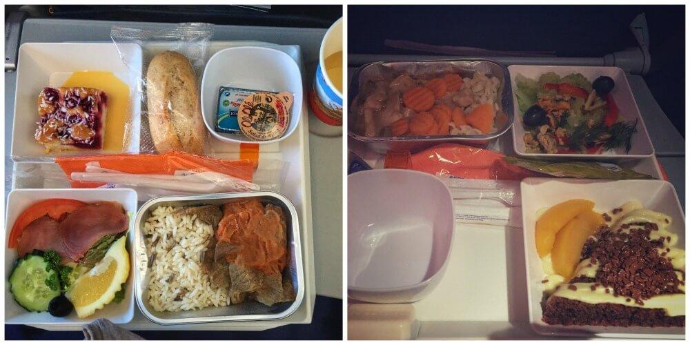 Menú de comida en clase turista de Aeroflot