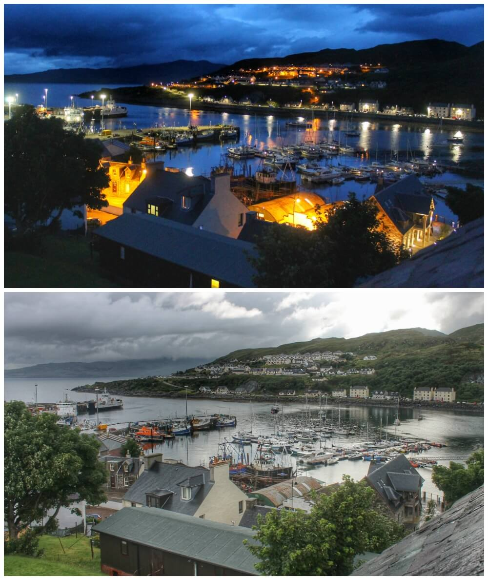 Puerto de Mallaig, viaje a Escocia, de día y de noche
