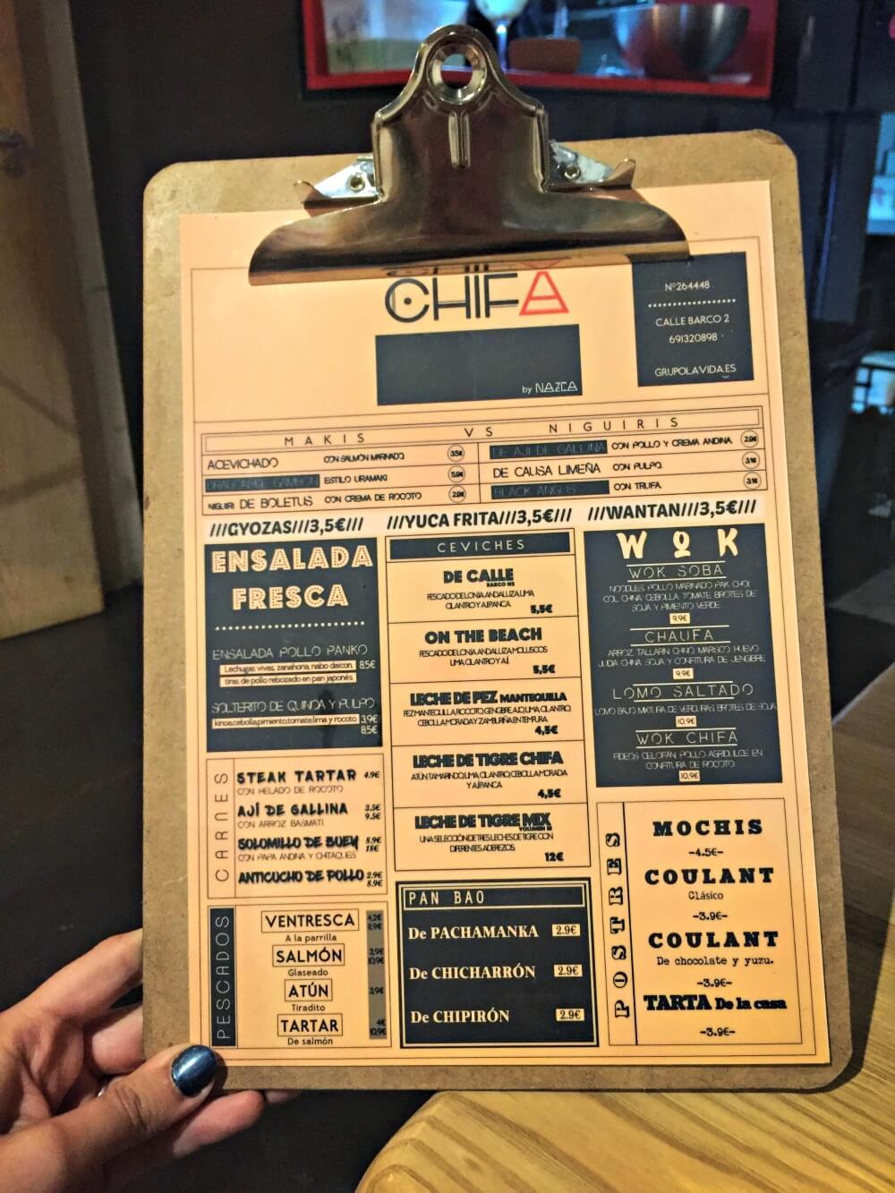 Carta del menú del restaurante Chifa en Sevilla