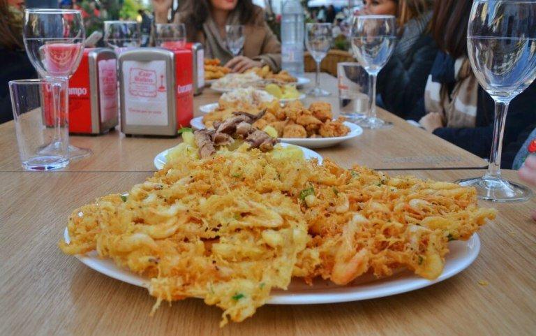 Tortillita de camarones en Casa Balbino