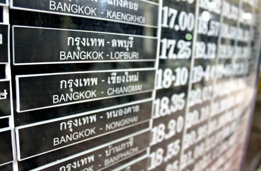 Horario del tren nocturno de Bangkok a Chiang Mai