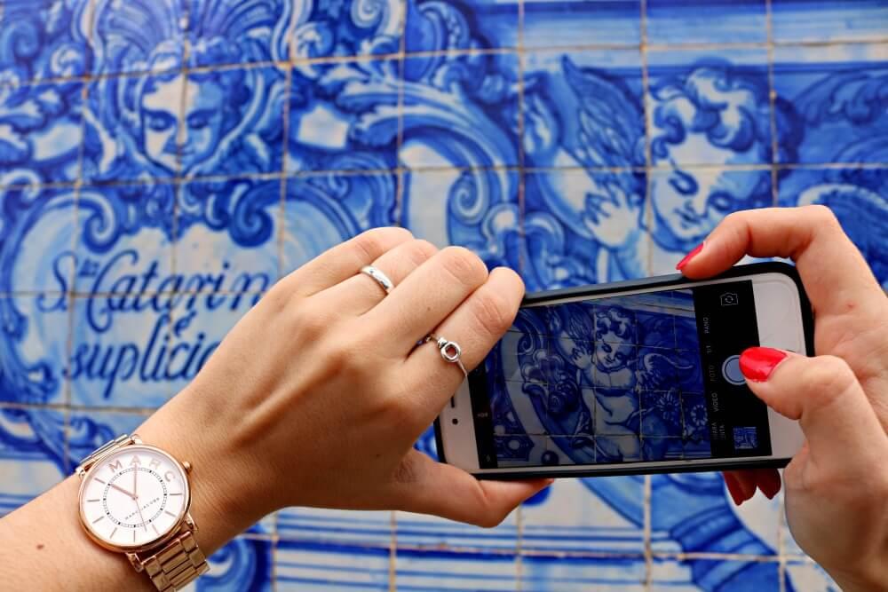 Fotografiando los azulejos de Oporto