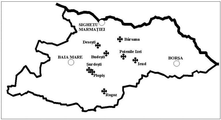 Mapa de las Iglesias de Madera de Maramures - Wikipedia
