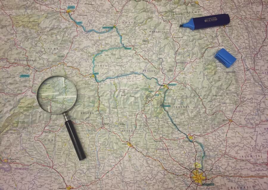 Mapa para viajar a Rumanía por libre en coche de alquiler una semana