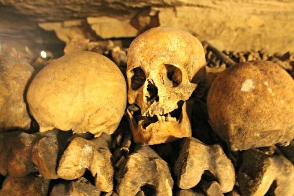 Cráneo con dientes en las Catacumbas de París