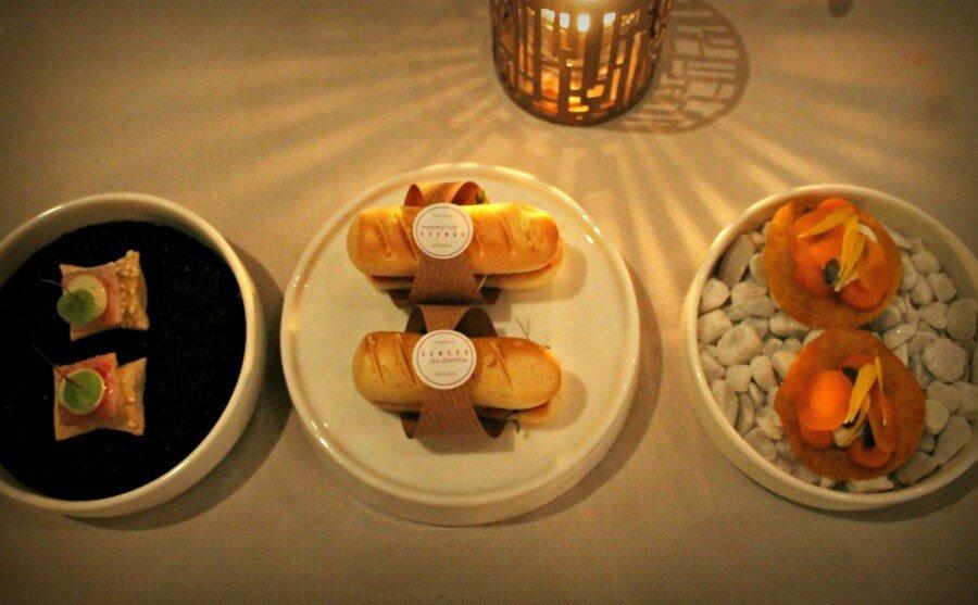 Aperitivos variados del Restaurante Senses del Hotel Albus de Ámsterdam