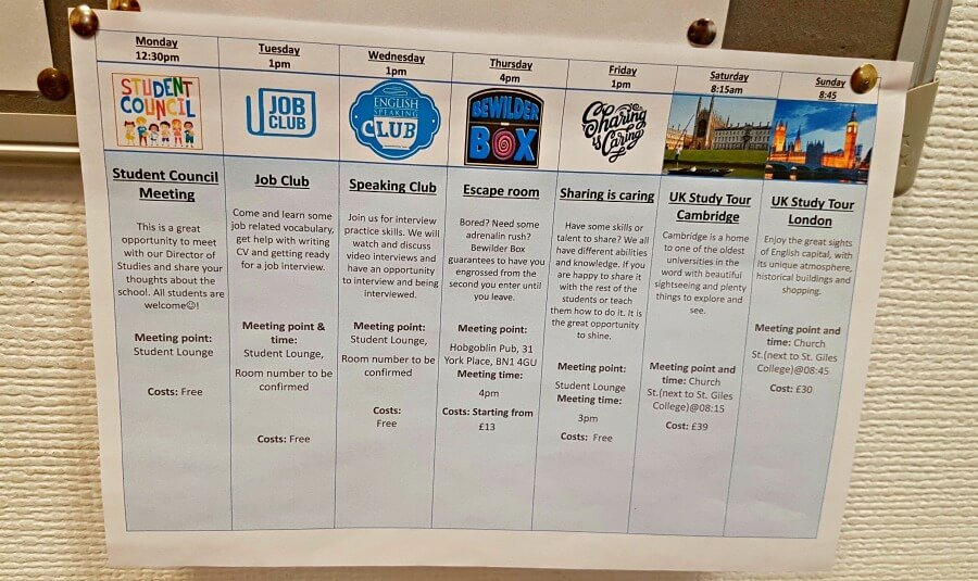 Calendario de actividades semanales - Cursos de inglés en Inglaterra