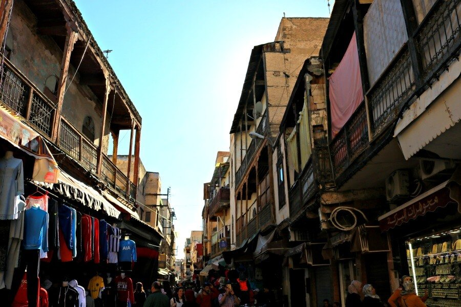 Casas con balcones en el Mellah de Fez