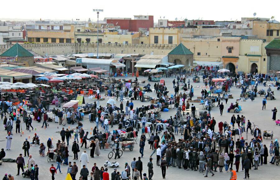 Plaza Lahdime en Meknès en plena ebullición