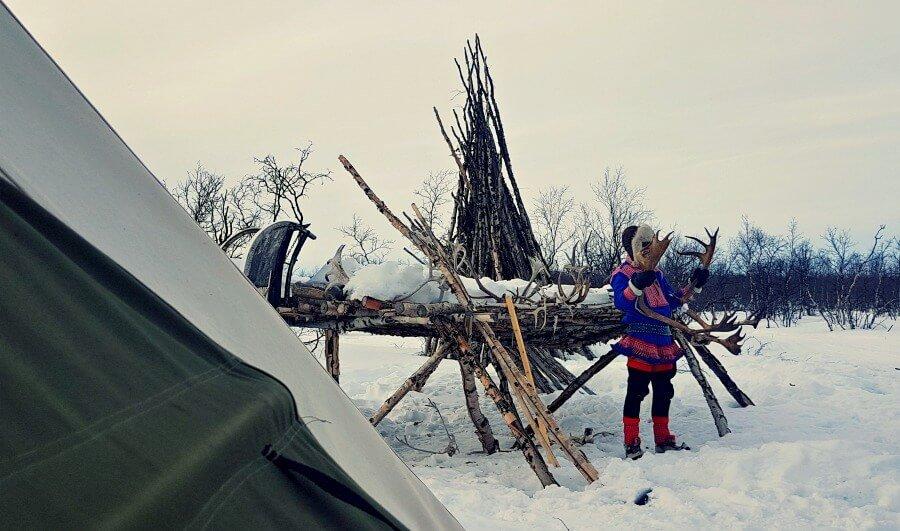 Chico de la cultura Sami con hastas de reno - Noruega Ártica