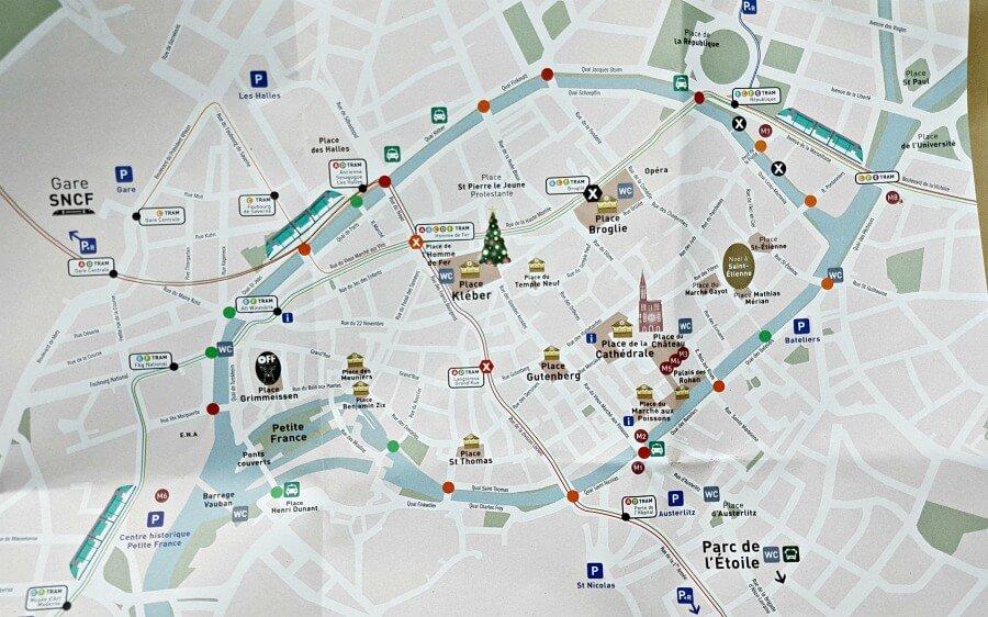 Mapa de los mercados de Navidad de Estrasburgo