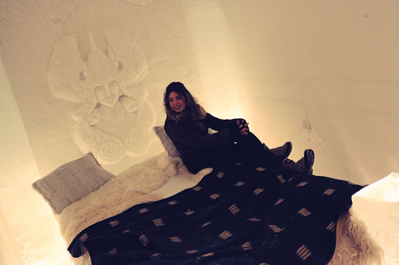 Dormitorio del hotel de hielo de Noruega