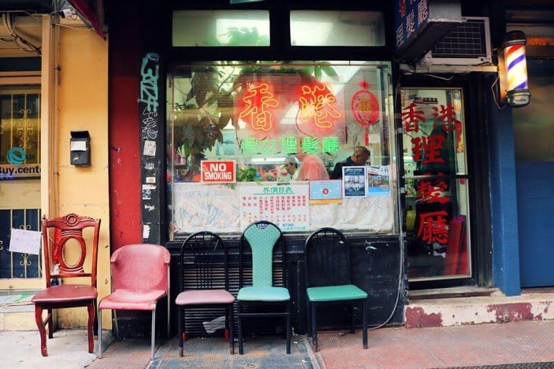 Calle de las Barberías en el barrio chino de Nueva York