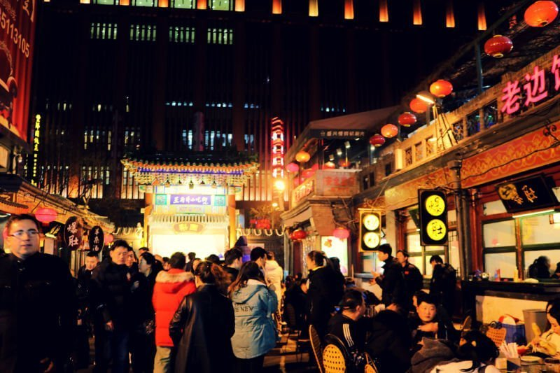 Mercado nocturno de comida de Pekín Wangfujing