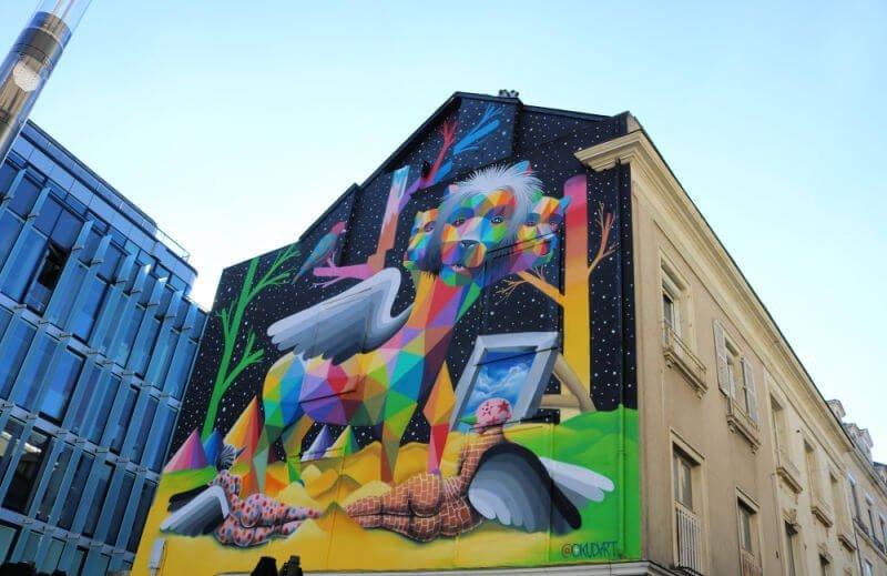 Graffiti de Okudart en Angers