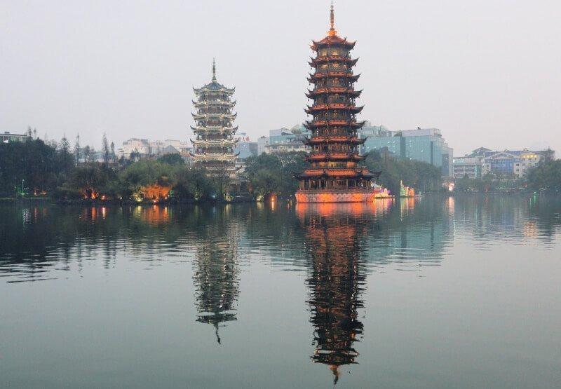 Las Pagodas del Sol y la Luna de Guilin