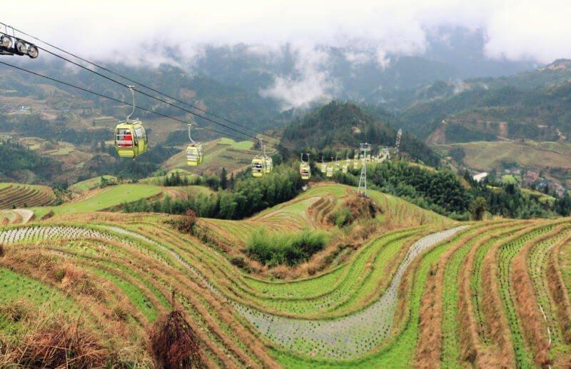 Teleférico de las terrazas de arroz de Longsheng