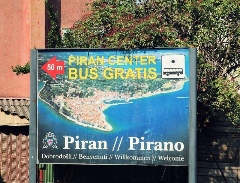 Parking en Piran con autobús gratis
