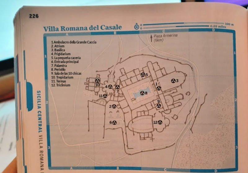 Mapa de la guía Lonely Planet de la Villa Romana del Casale