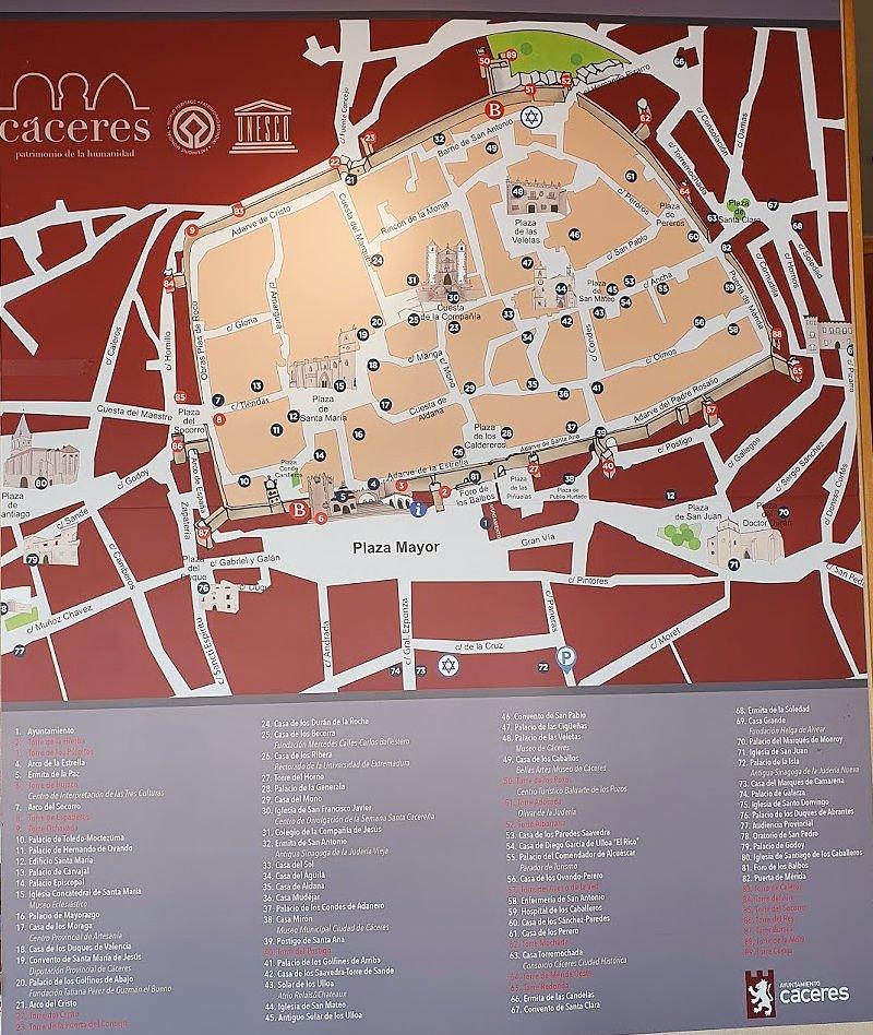 Mapa con los atractivos turísticos